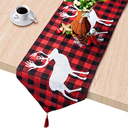 Plaid Table Runner Cotton Burlap Buffalo Check Table Runner Christmas Elk Table Runner For Christmas Table Decoration Family Dinners Or