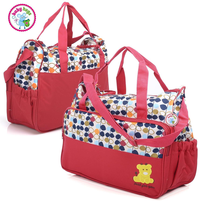 DARK BLUE /& COLOURFUL DOTS Babyhugs 5PCS Mummy Baby Nappy Diaper Changing Maternity Hospital Bag Set