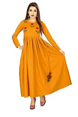 3bf4c4a1b9 Mustard Yellow Khadi Cotton Indian Bollywood Designer Anarkali Long Sleeve  Girl Women Kurta (Ex-