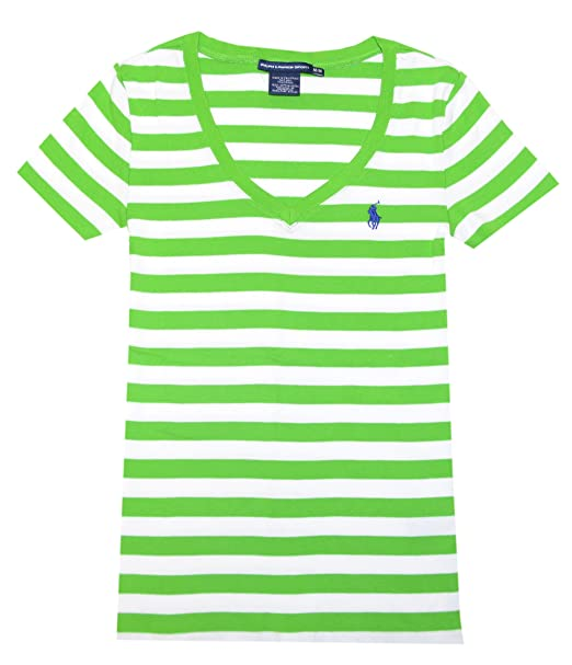 82bd2fc22 Ralph Lauren Sport Women V-neck Ribbed Striped Pony Logo T-shirt (XS ...