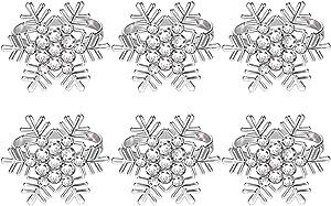 Getfitsoo Napkin Ring,Napkin Holder for Wedding Christmas Party Dinner Table Decor 6 Pcs (Snowflake)