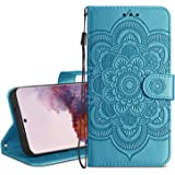 HianDier Wallet Case for Galaxy S20 Card Holder Case Kickstand Flip Cover Embossed Mandala Flower Lanyard Protective…