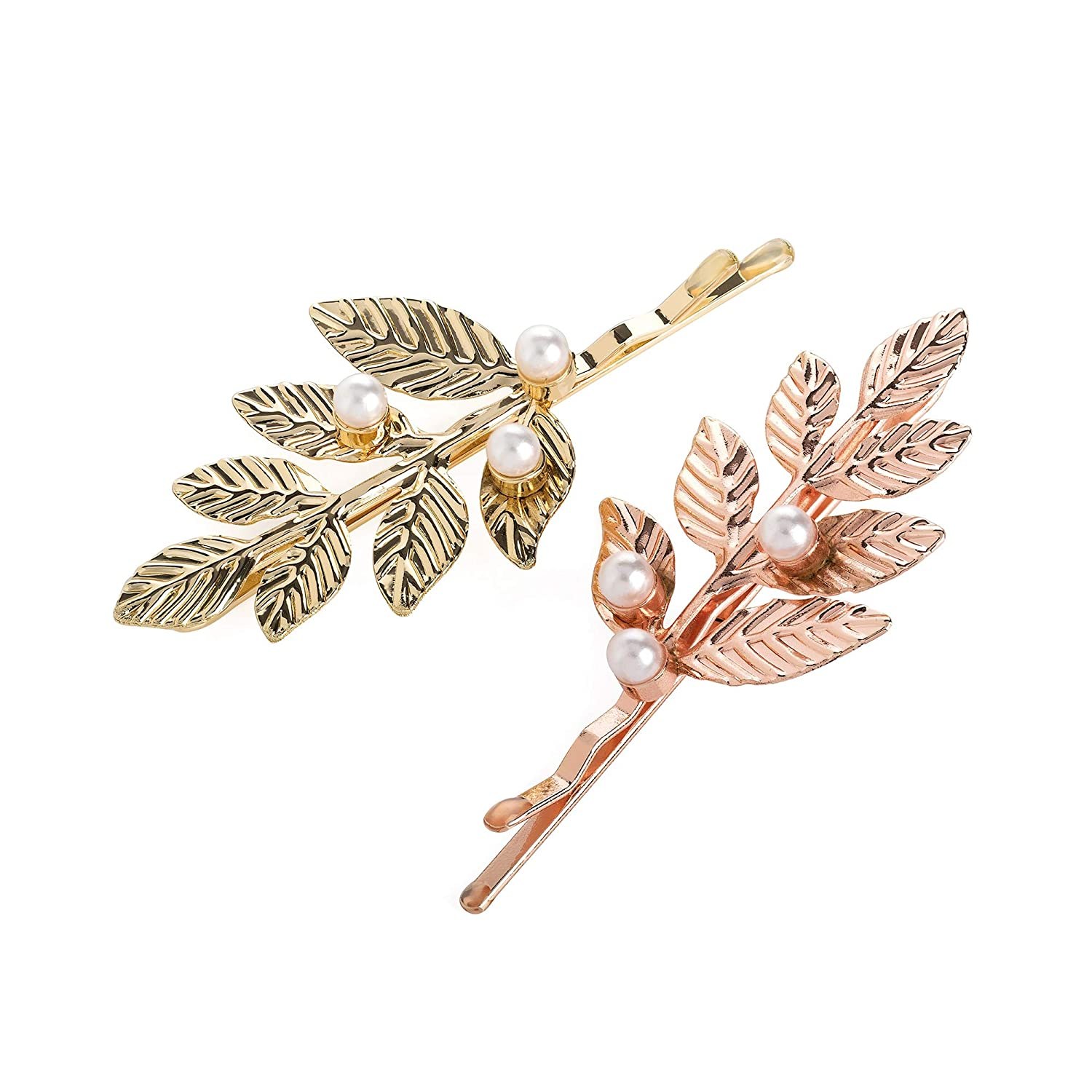 Pair of Gold and Rose Gold Leaf Motif Pearl Hair Slides Grips Clips Pins Jewels Pritties Accessories