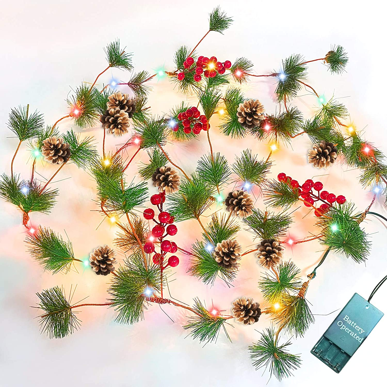 TURNMEON 10FT Christmas Garland with 30 Lights, Christmas Pinecone Lights Battery Operated Red Berry Pine Cone Bristle Xmas Decor (Color)