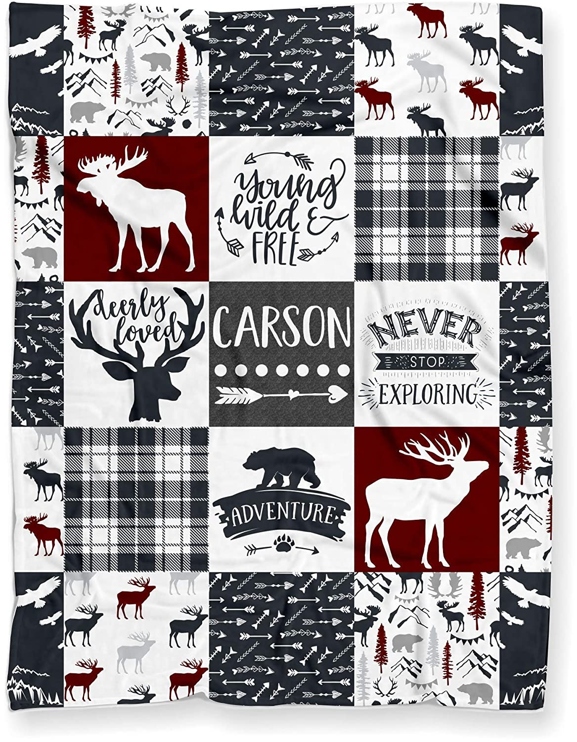 Woodland themed moose and deer flannel stroller sized baby blanket