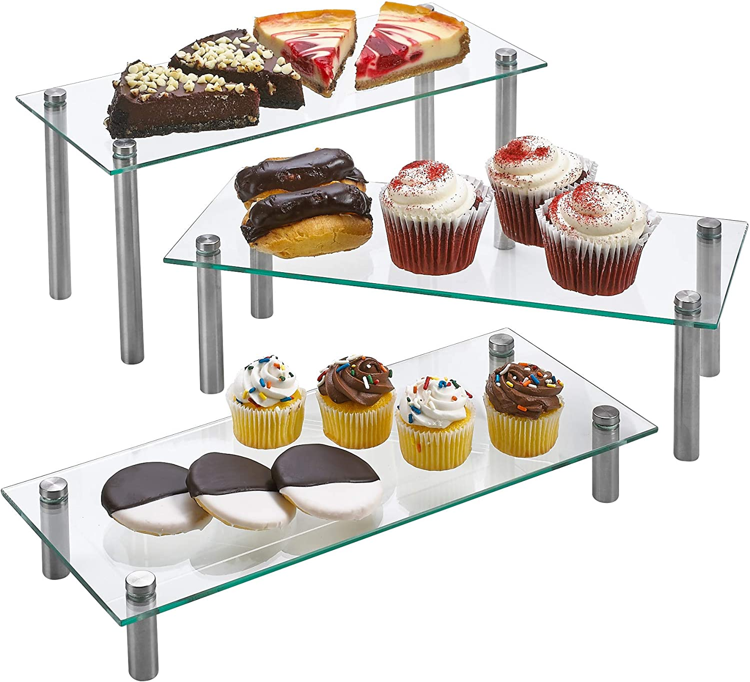 3 Tier Rectangle Tempered Glass Retail Display Stand 5 x 12 Incch for Cupcakes, Dessert, Bags, Perfume – Set of 3 Glass Display Raisers. (Clear)