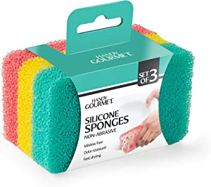 Handy Gourmet Silicone Sponges (Set of 3 Colors) Kitchen and Dish Scrubber, Fragrance Free, Mildew Free, Odor Free