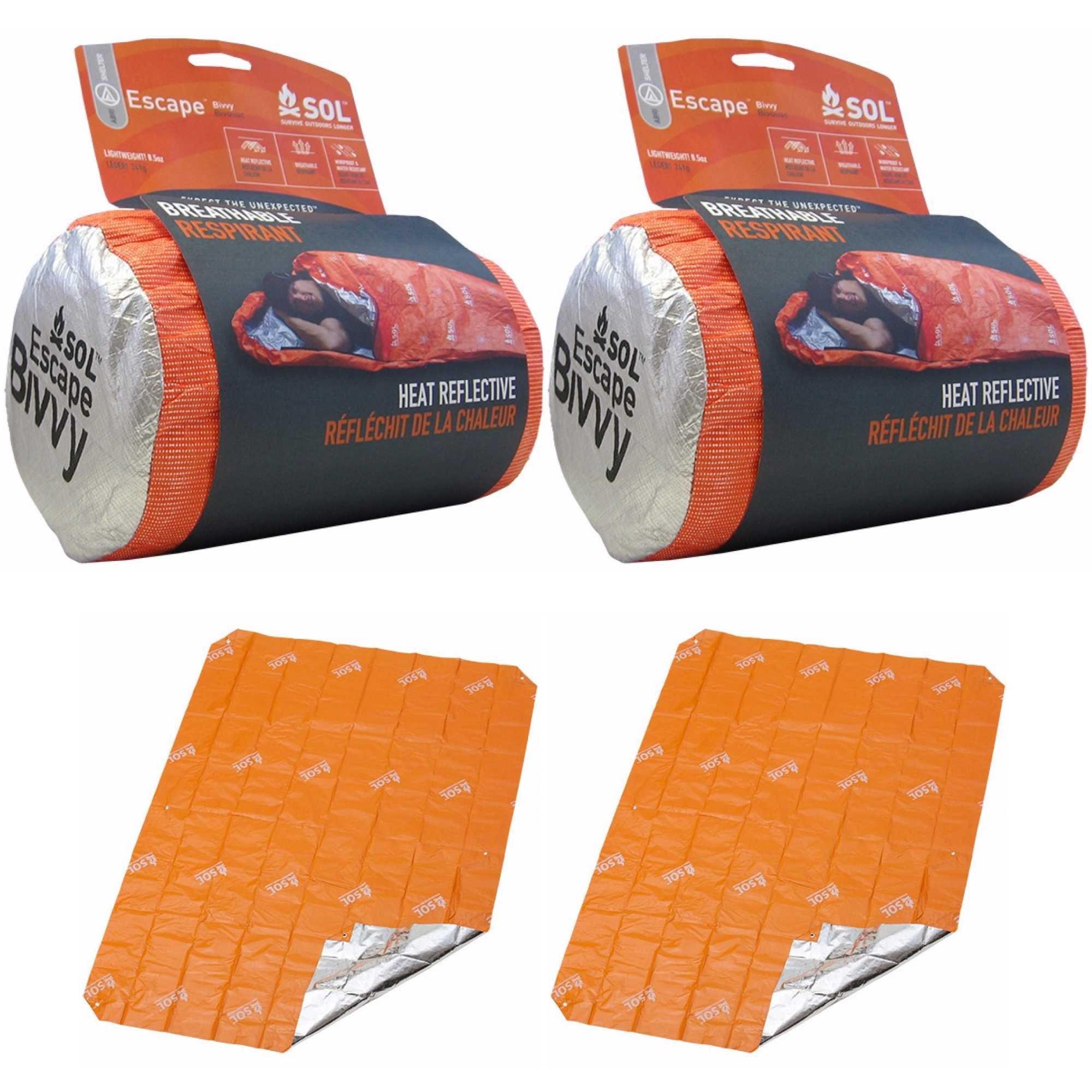 S.O.L. Survive Outdoors Longer 2x Escape Bivvy (Orange) & 2x SOL Sport Utility Blanket Shelter Kit for Two