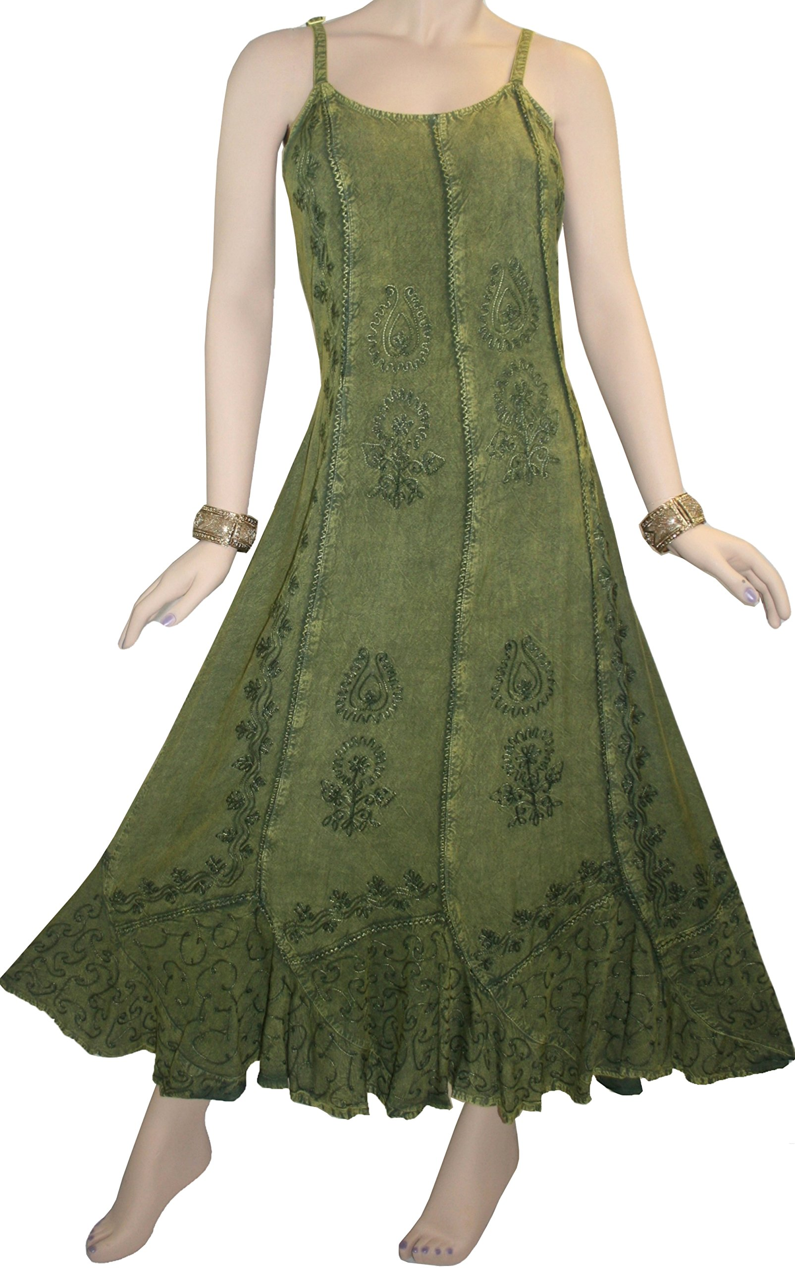 1005 DR Gypsy Sexy Summer Scalloped Dress [Green; M]