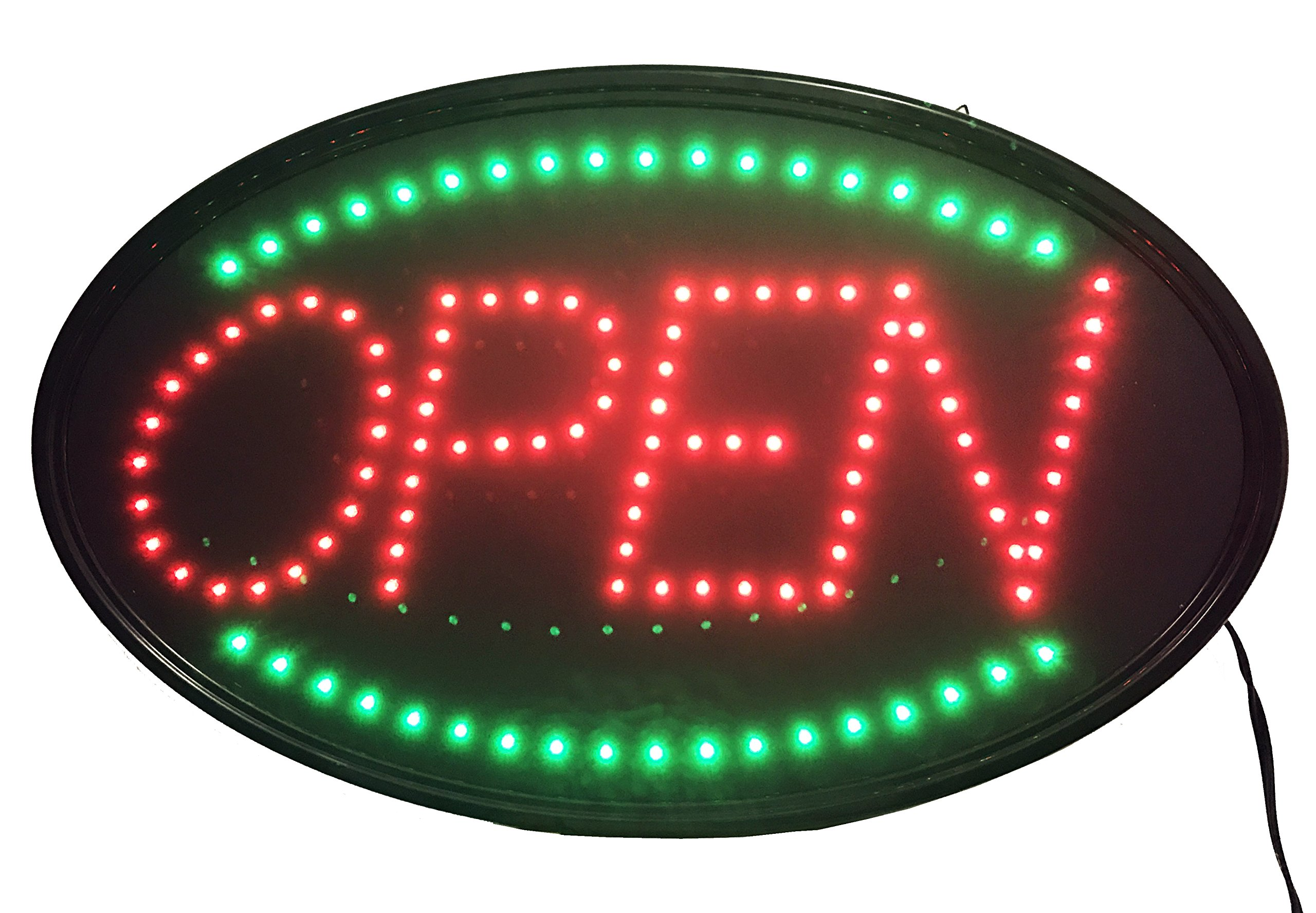 Jumbo 24'' x 13'' LED Neon Sign with Motion - ''OPEN'' (Red/Green) U33