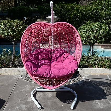Amazon.com: Rosa forma de corazón columpio de mimbre cama ...