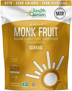 Health Garden Monk Fruit Sweetener, Classic White - Non GMO - Gluten Free - 1:1 Sugar Substitute - Keto Friendly - Taste Like Sugar (9.75 Lb)