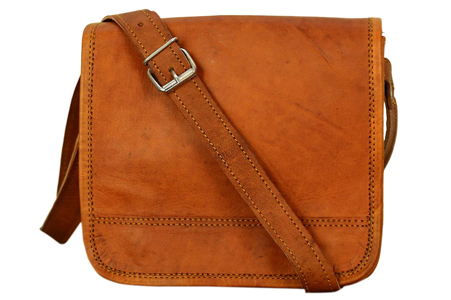 cross body bag in vintage style by SR Leather Small, Vintage Brown Genuine Goat leather messenger bag