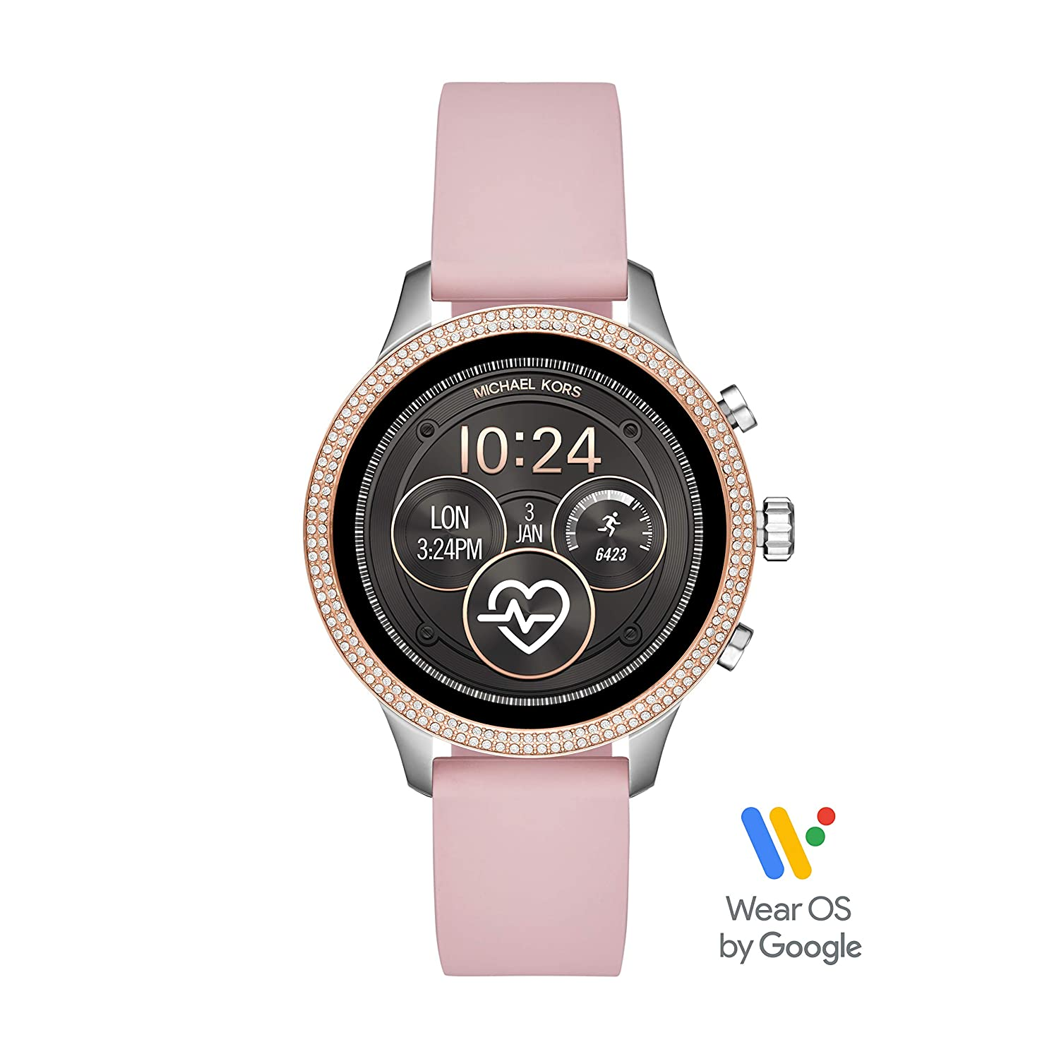 93f025309c Amazon.com: Michael Kors Access Womens Runway Touchscreen Smartwatch  Stainless Steel Leather watch, Pink, MKT5055: Computers & Accessories