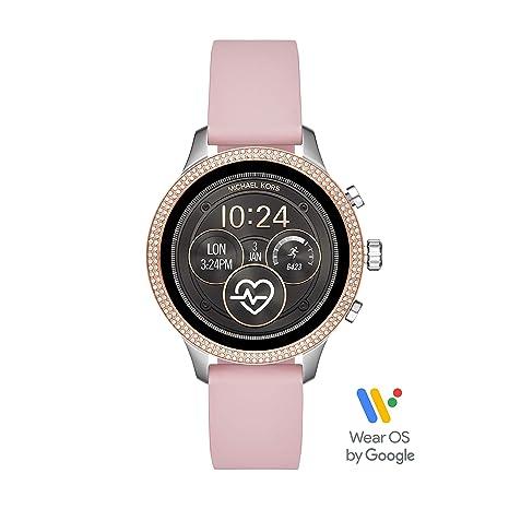 Michael Kors Access Womens Runway Touchscreen Smartwatch Stainless Steel  Leather watch, Pink, MKT5055