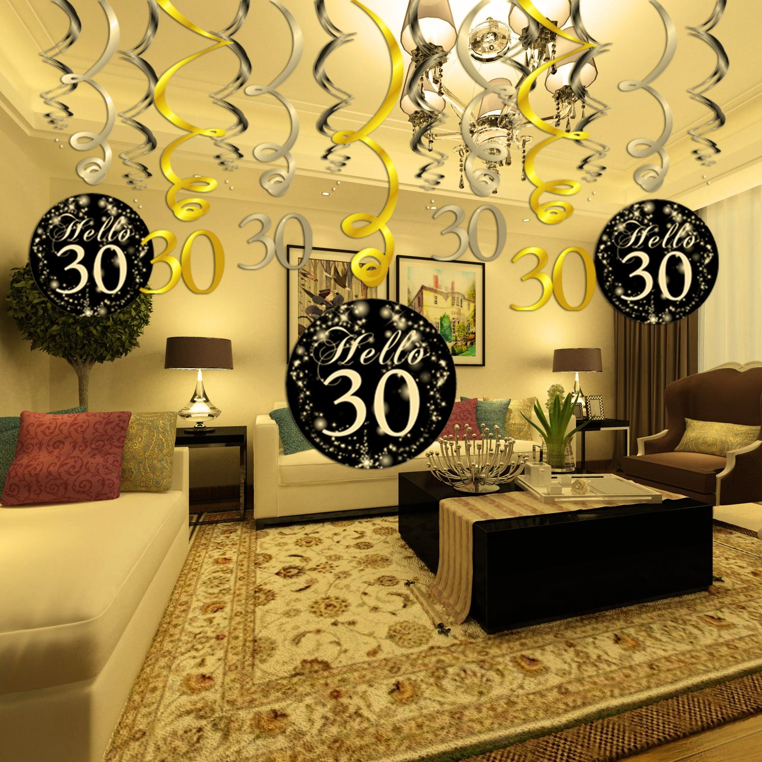 30 Birthday DecorationsHowaf Gold Black Silver Decor 30th Hanging Swirl 15 Counts