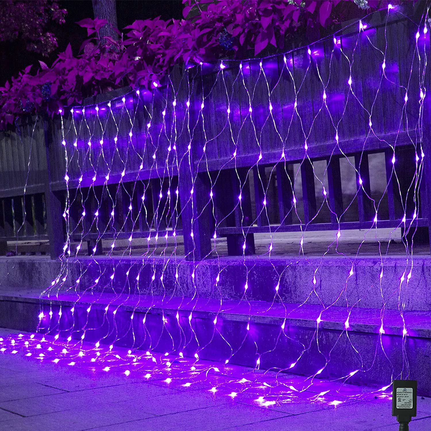 Christmas LED Net Lights, Purple Mesh Lights Plug in, 204 LED 9.8ft x 6.6ft Connectable Curtain Fairy Lights for Tree Wrap, Bushes, Outdoor, Christmas, Halloween