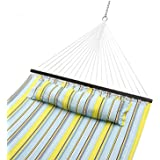 Sportneer Double Hammock Quilted Fabric Double Wide Solid Spreader Bar for Outdoor Patio Yard