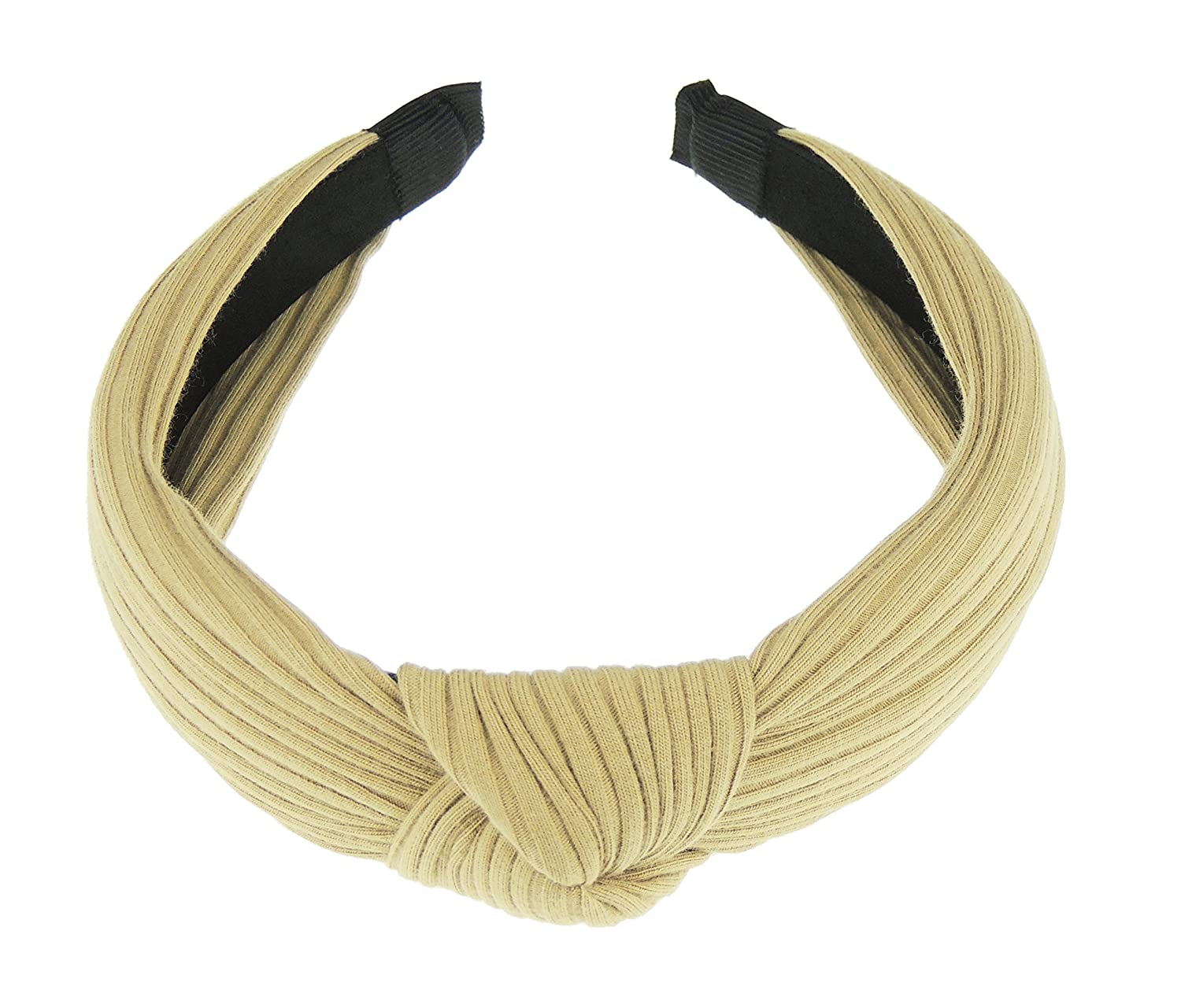 Ladies Girls Soft Ribbed Jersey Top Knot Headband Alice Band Grey