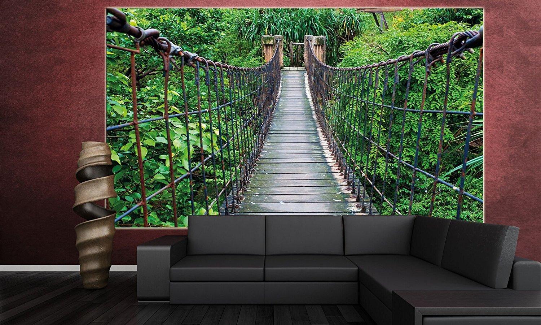 rope bridge jungle xxl mural jungle bridge poster 55 inch x rope bridge jungle xxl mural jungle bridge poster 55 inch x 39 4 inch amazon com