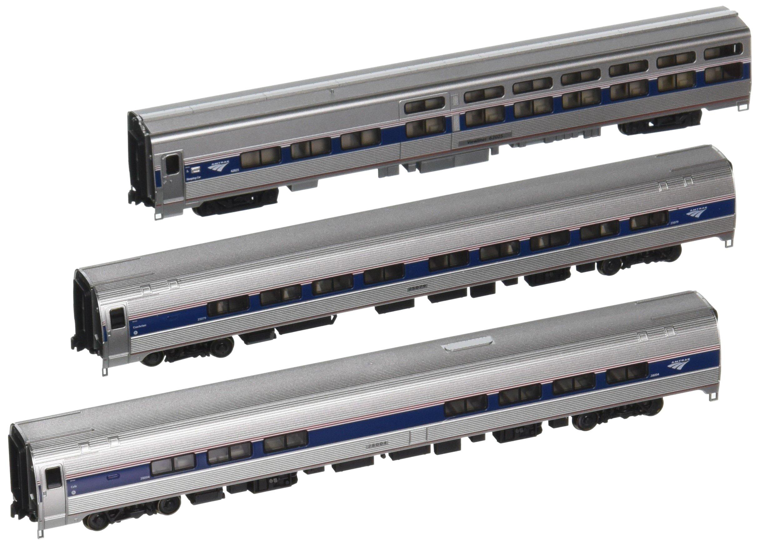 Kato USA Model Train Products Amfleet and Viewliner Intercity Express Phase VI Bookcase Set, 3-Unit Set