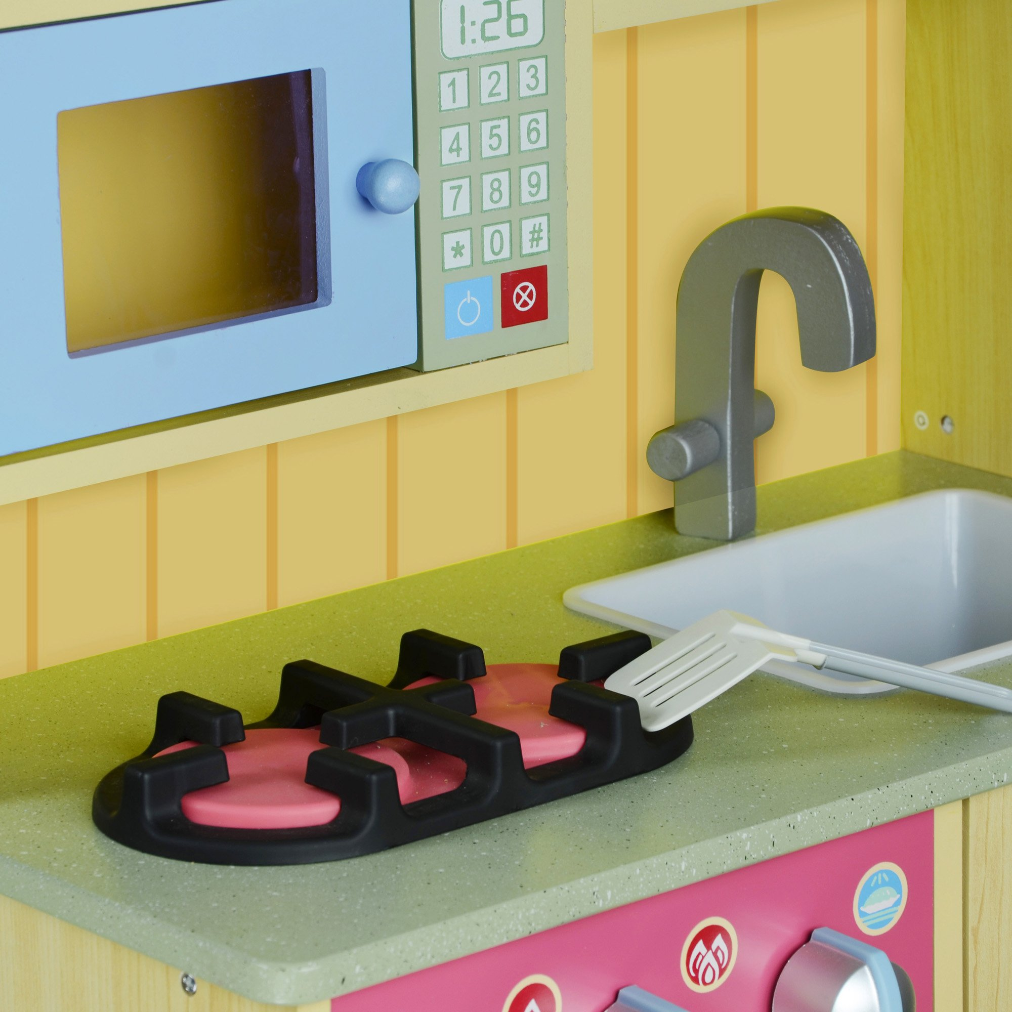Teamson Kids - Little Chef Florence Classic Kids Play Kitchen | Toddler Pretend Play Set with Accessories - Wood Grain by Teamson Kids (Image #7)
