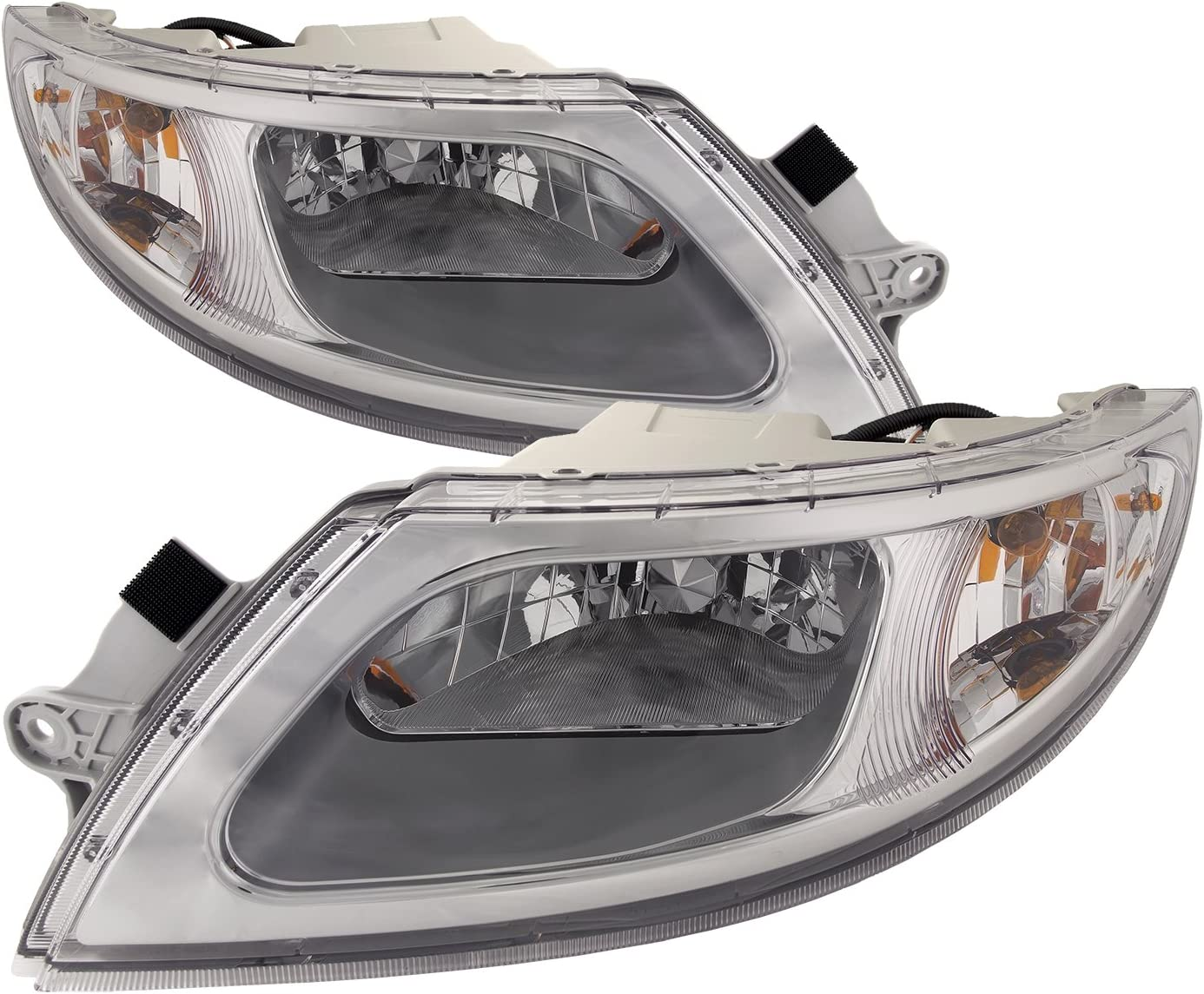 HEADLIGHTSDEPOT Chrome Housing Halogen Headlights Set Compatible with International Harvester 4100 4200 4300 4400 8500 TranStar 8600 Includes Left Driver Right Passenger Pair
