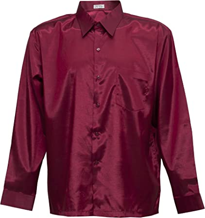 Camiseta para hombre de manga larga de seda tailandesa rojo, granate, X-Large