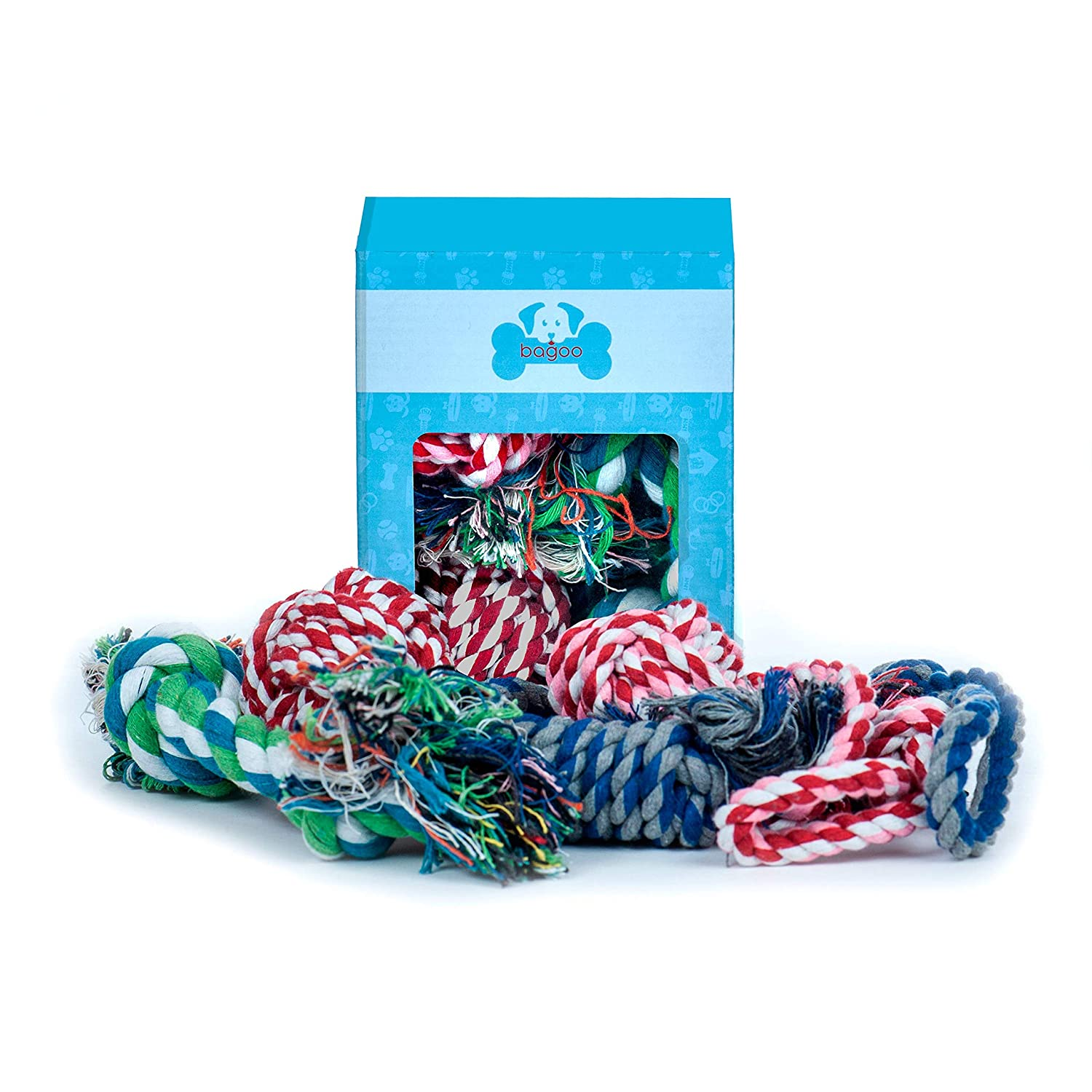 Normal (4 Pack) Bagoo Pets Dog Rope Toys for Small, Medium, and Large Dogs. Sets of 4 and 5. for Keeping Them Busy, Playing Thug of War, When Teething. Suited for Aggressive Chewers. (Normal (4 Pack))