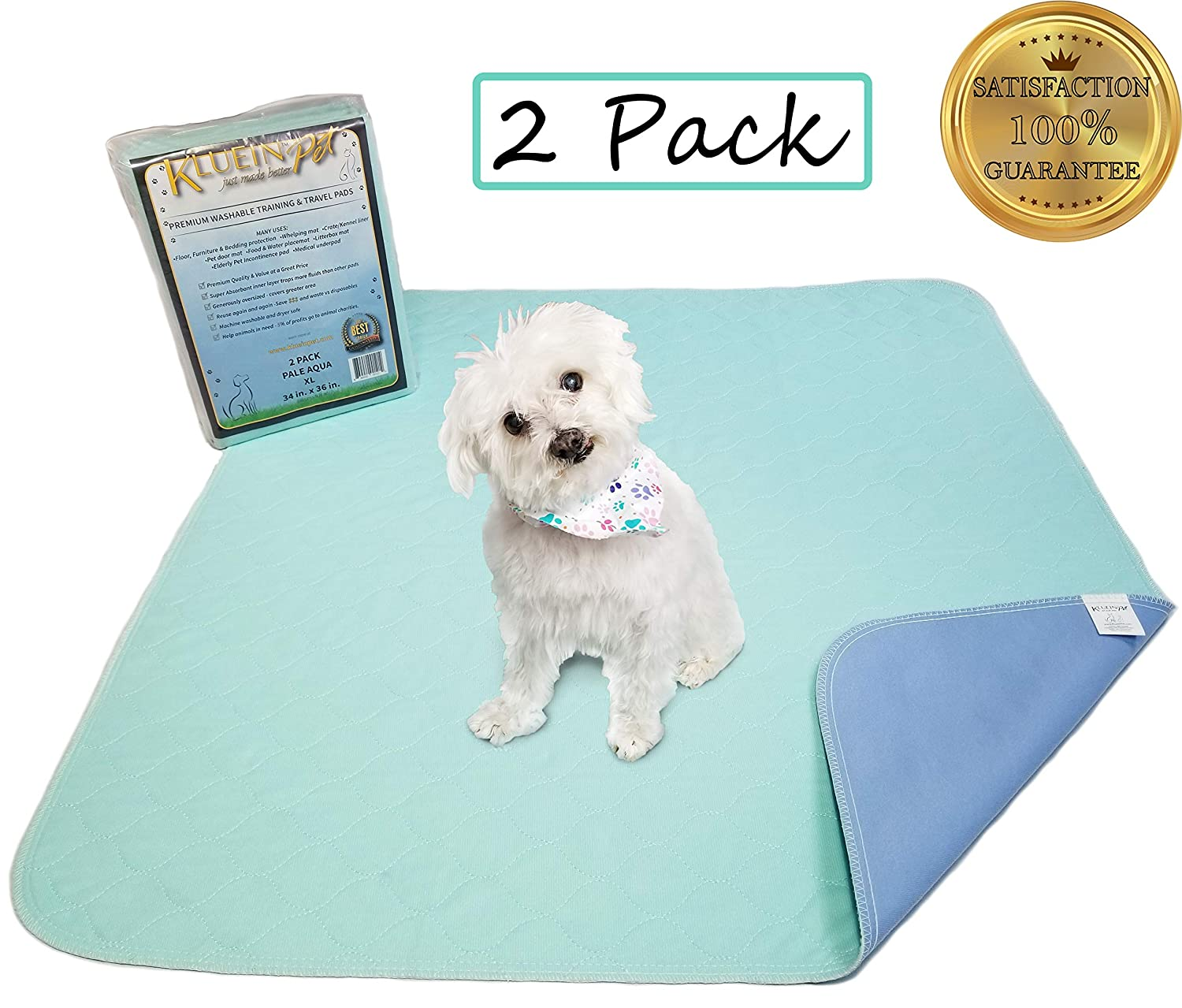Aqua Kluein Pet Washable Pee Pads for Dogs & Puppies 2 Pack XL 34 x 36 inch, Aqua, Waterproof Reusable Wee Wee Pads; Puppy Playpen; Potty Training, Whelping; Dog Crate; Housebreaking