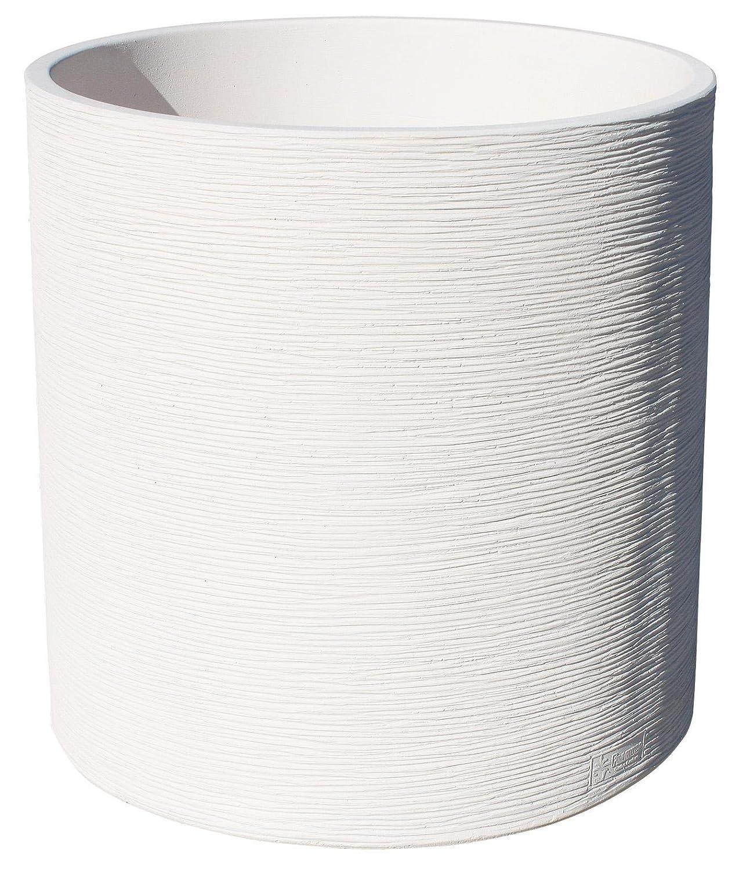 Rundes Pflanzgefäß aus Kunststein mit Faser Hissflagge Frio 58cm Durchmesser 60cm Höhe. weiß
