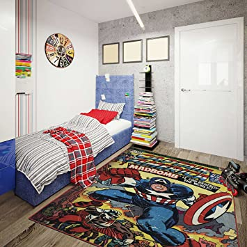Captain America Comic Poster Area Rug, Retro Style Boyu0027s Bedroom Rug,  Colorful And Vibrant