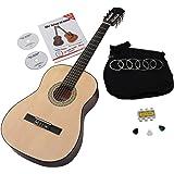 Classic Cantabile AS-851 7/8 - Set de guitarra acústica para principiantes (funda, cueras de repuesto, libro de método con CD y DVD que no pueden estar en español, 3 púas y silbato afinador)