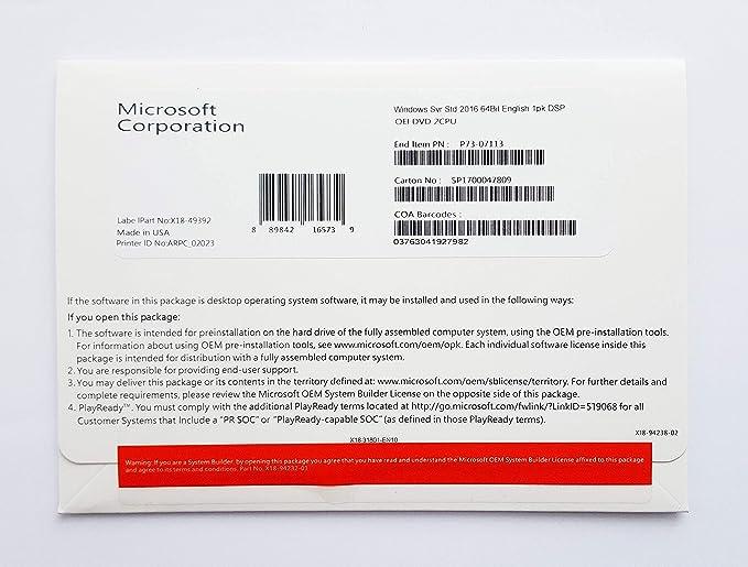 Windows Server 2016 Standard 64-bit License Multilanguage