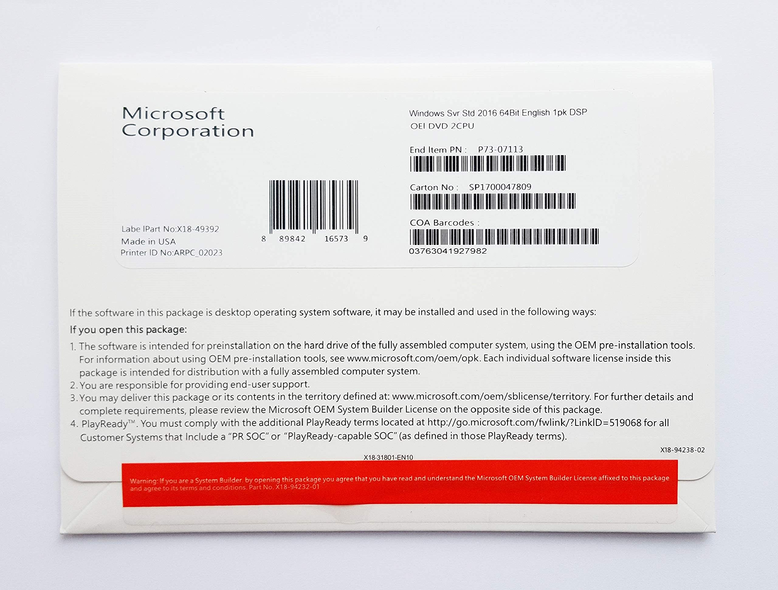 Windows Server Standard 2016, 64-Bit, 16-Core by Microsoft