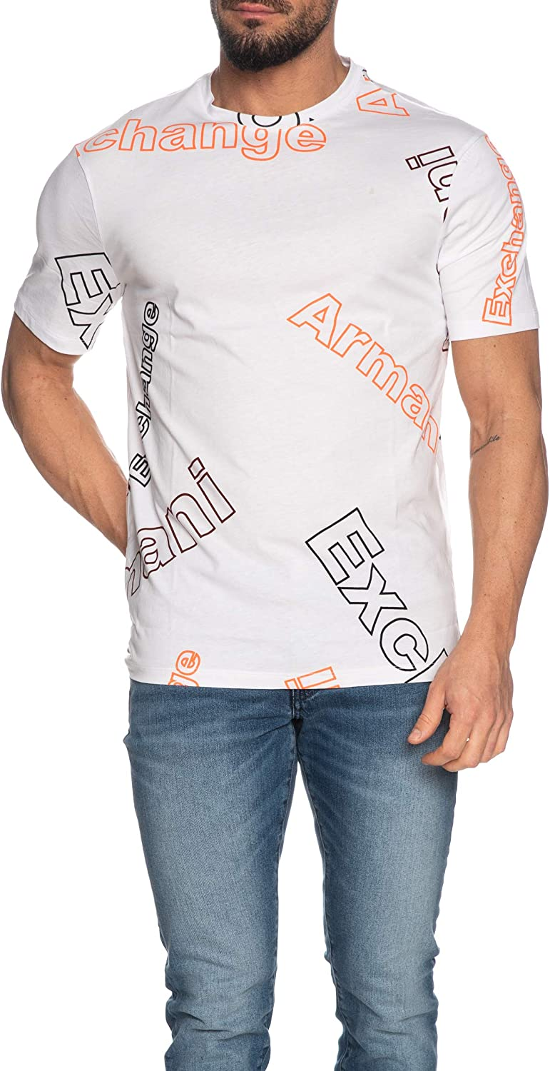 AX Armani Exchange Men's Regular Fit Tilt Logo Crewneck Cotton Graphic Tee