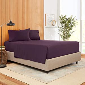 Cal King Size Sheet Set 4 Piece - Bamboo Blend Hotel Luxury Bed Sheets - Extra Soft Bamboo and Microfiber Blend - Breathable & Cooling Sheets - Wrinkle Free - Cal King – Purple Eggplant Bed Sheets