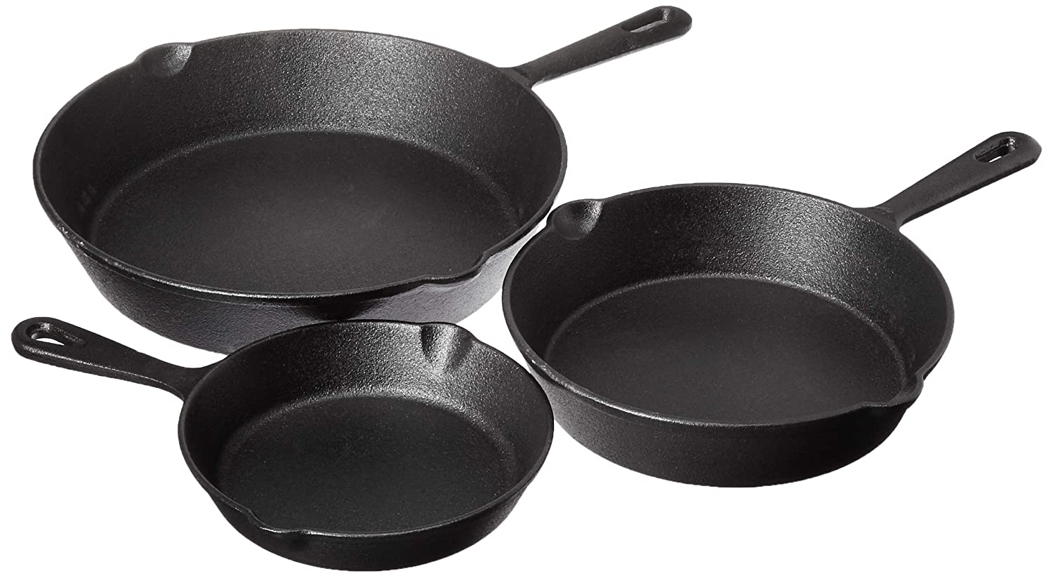 "Jim Beam Set of 3 Pre Seasoned Cast Iron Skillets with Even Heat Distribution and Heat Retention - 6"" 8"" 10"""
