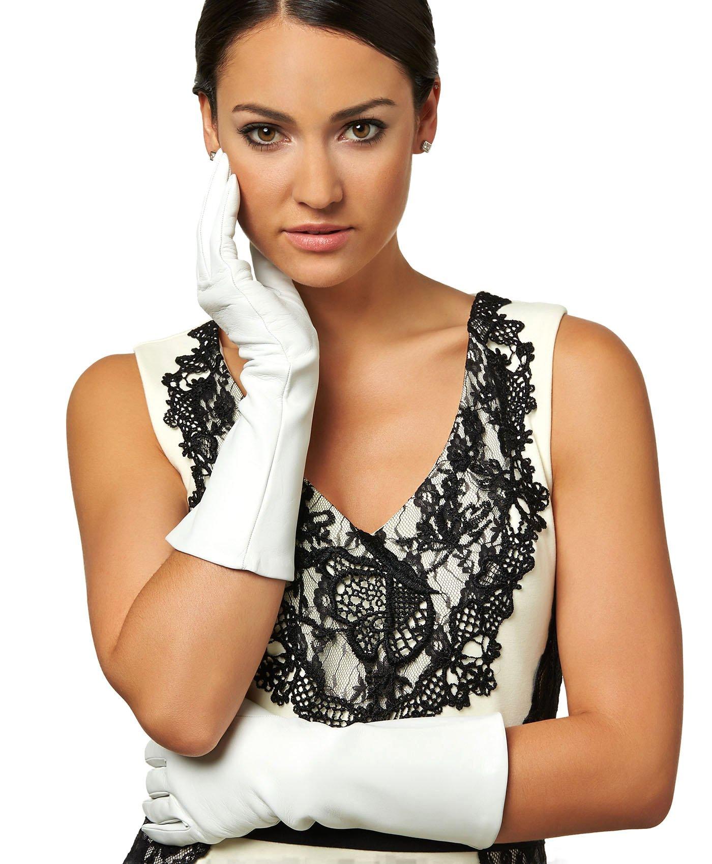 Fratelli Orsini Women's Italian Silk Lined 6-Button Length Bridal Gloves Size 7 1/2 Color White by Fratelli Orsini (Image #4)