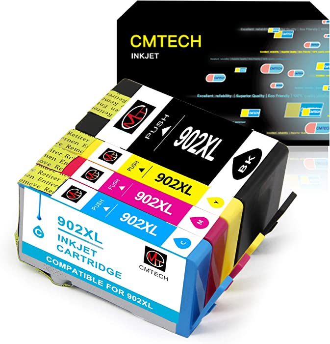 CMTECH Remanufactured Ink Cartridges Replacement for HP 902 XL 902XL Work for OfficeJet Pro 6968 6978 6962 6958 6954 6960 6970 6979 Inkjet Printer (Black, Cyan, Magenta, Yellow, with Updated Chip)