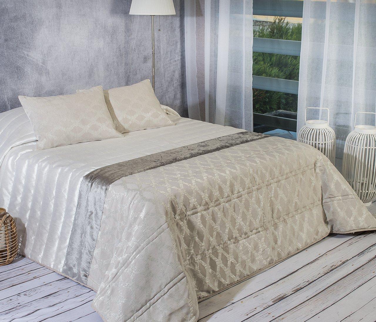 Algodón Weiß Baumwolle Weiß Cascavel Tagesdecke Bouti, 1 Kissenbezug, Jacquard, 60 x 40 cm 180 x 270 cm; 60 x 40 cm grau