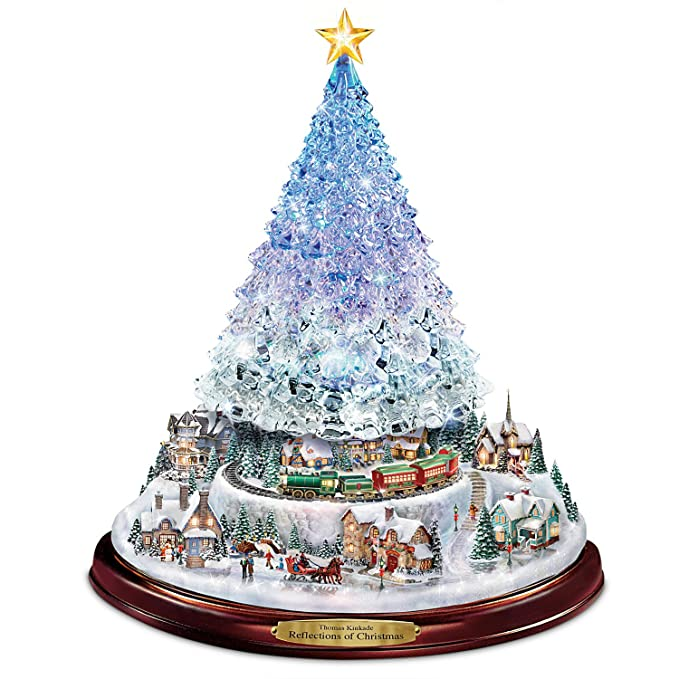 amazoncom thomas kinkade crystal tabletop christmas tree lights motion and music by the bradford exchange home kitchen
