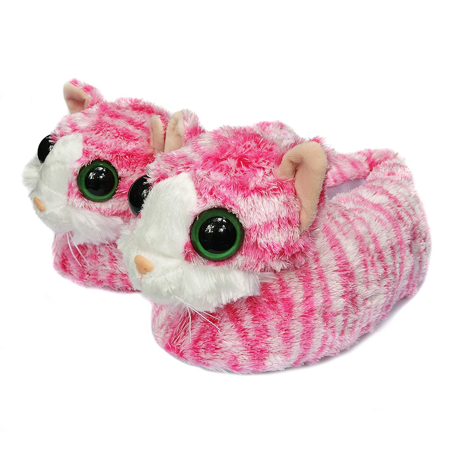Onmygogo Indoor Fuzzy Winter Animal Cat Plush Soft Slippers For Men Women and Kid, Lovely Cat With Big Eyes JE-AE52-TO8M