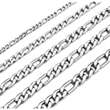 Monily 16 Inches 30 Inches Figaro Chain Necklace 4mm 8.5mm Stainless Steel Figaro Link Chain for Men Women 18k Real Gold Plat