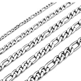 Amazon Price History for:Monily 16-30 Inches Figaro Chain Necklace 4-8.5MM Stainless Steel Figaro Link Chain for Men Women