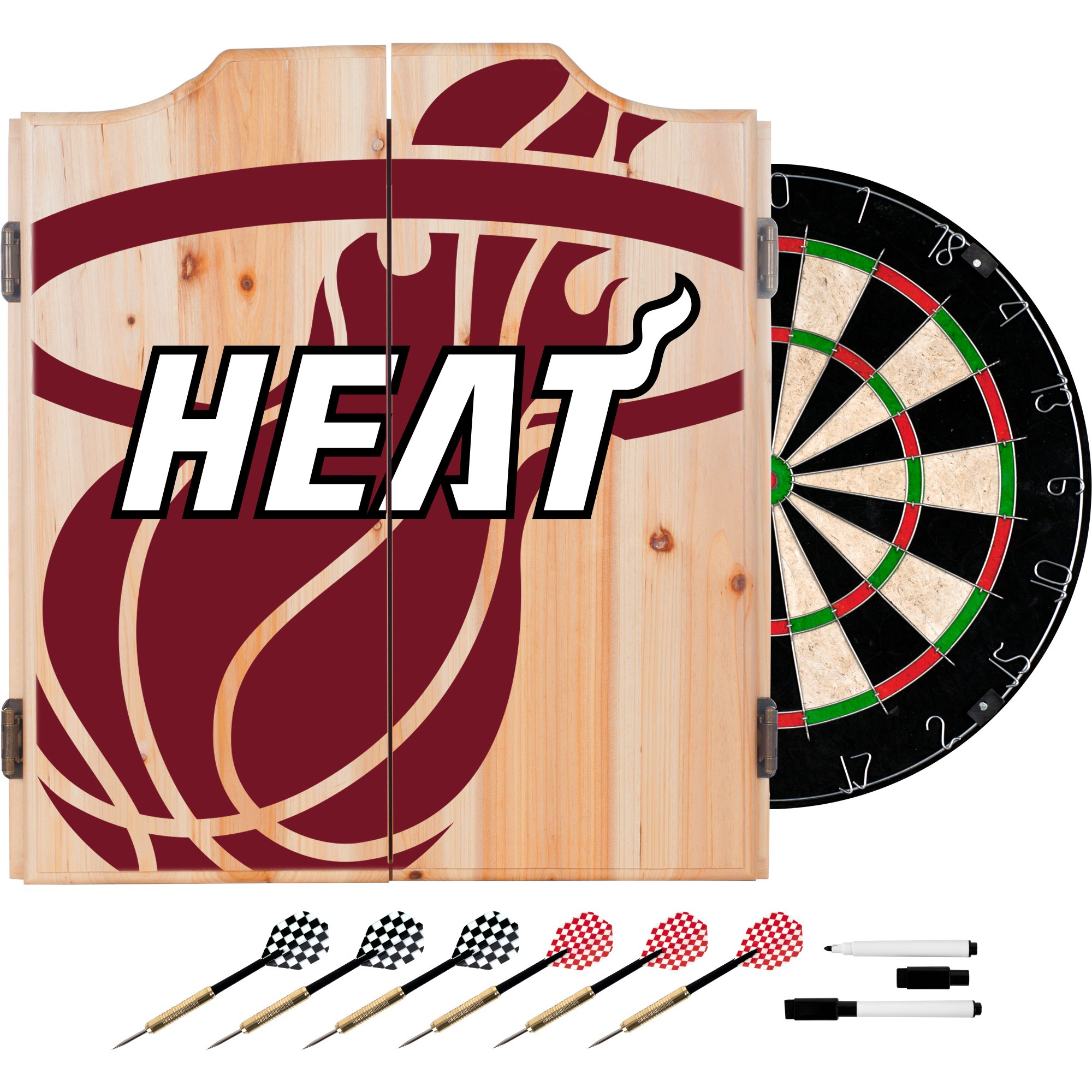 Trademark Gameroom NBA7010-MH2 NBA Dart Cabinet Set with Darts & Board - Fade - Miami Heat