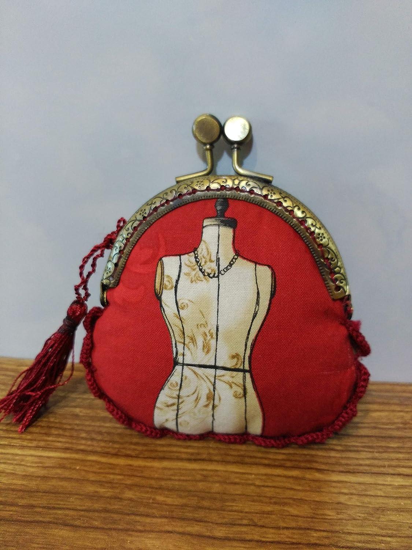 Monedero tela maniquí hecho a mano con remate a ganchillo ...