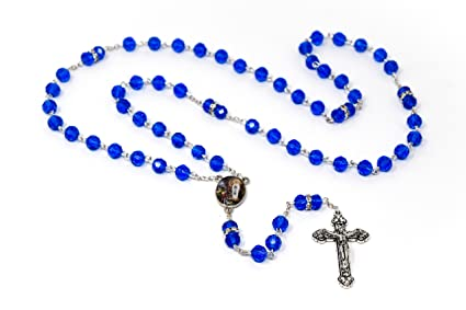 5dd6f7a0f Image Unavailable. Image not available for. Color: Rosary Beads From  Lourdes - Blue Crystal ...