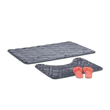 Relaxdays 2 Teiliges Badematten Set Badematte Anthrazit Wc Vorleger Grau Badvorleger 50x70 Mit Muster Grey