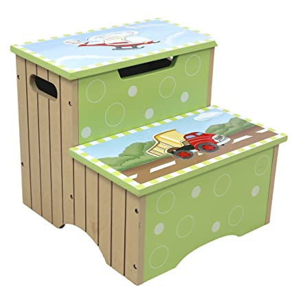 Tremendous Teamson Design Corp Fantasy Fields Transportation Thematic Kids Wooden Step Stool With Storage Imagination Inspiring Hand Crafted Hand Painted Pabps2019 Chair Design Images Pabps2019Com